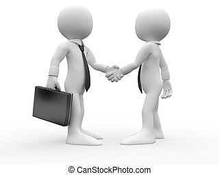 3D Human shaking their hands in agreement and have reached a business deal