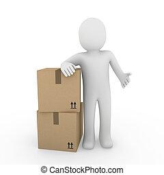 3d human shipping package - 3d, human, shipping, transport, ...