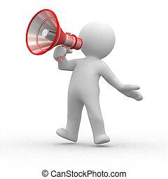 megaphone - 3d human shout with a red megaphone