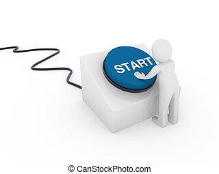 3d human start button