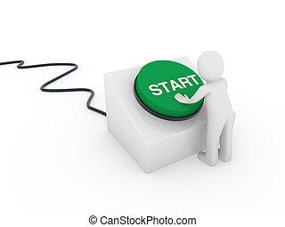 3d human start button - 3d human man button green start push...