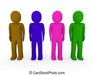 3d human team green pink blue brown