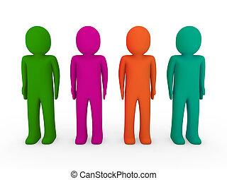 3d human team green pink orange