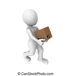3d human with a box
