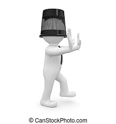 3d human with a bucket on his head is to the touch. Isolated...