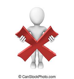 3d human with a negative symbol