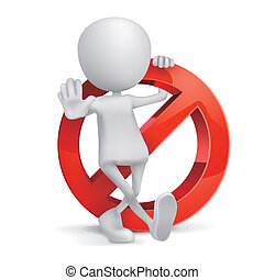 3d human with a Prohibition sign on white background