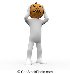 3D human with a pumpkin head