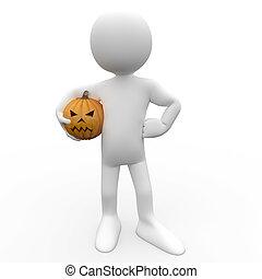 3D human with a pumpkin