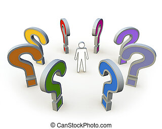 3d human with a question mark
