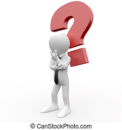 3d human with a question mark over his head in doubt