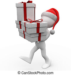 3D human with a Santa Claus hat