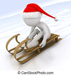 3D human with a sled in the snow