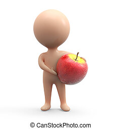 3d Human with apple