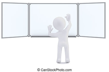 3d human with chalk writing on the whiteboard. Isolated on ...