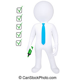 3d human with marker and check list