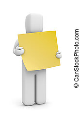 3d human with sticky note - Business concept. Isolated on...