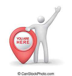 3d human with you are here symbol isolated white background
