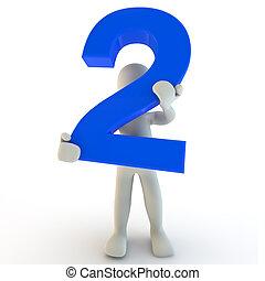 3d, humano, carácter, tenencia, azul, numere dos