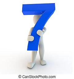 3d, humano, carácter, tenencia, azul, numere siete
