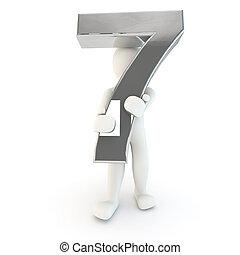 3d, humano, carácter, tenencia, plata, numere siete