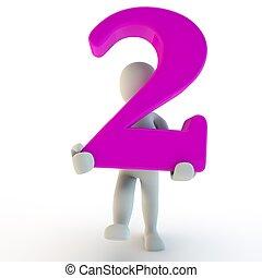 3d, humano, charcter, tenencia, rosa, número 2