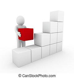 3d, humano, cubo, caja, blanco rojo
