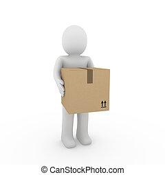 3d, humano, envío, paquete