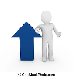 3d, humano, flecha, éxito, azul, alto, empresa / negocio