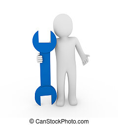 3d, humano, llave inglesa, azul