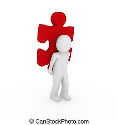 3d, humano, rompecabezas, rojo