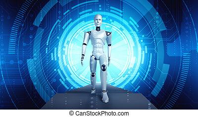 3d, humanoid, übertragung, fantasie, fi, roboter, sci, welt