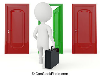 3d humanoid character go to a open door on white