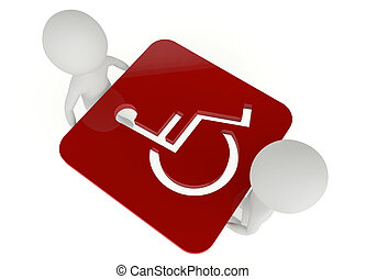 3d humanoid character hold a handicapped symbol - 3d...