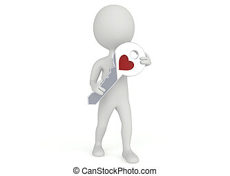 3d humanoid character hold a key with a heart symbol