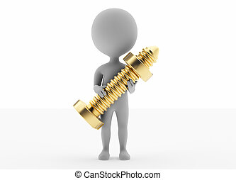 3d humanoid character hold a golden screw