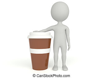 3d humanoid character plastic cup coffee on white