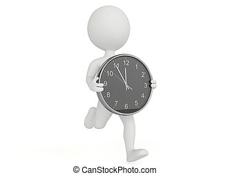 3d humanoid character running with a clock