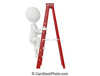 3d humanoid character up a ladder on white