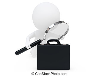 3d humanoid character with a magnifier and a black briefcase