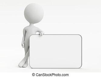 3d, humanoid, karakter, met, lege, plank