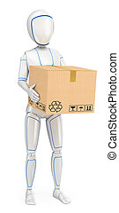 3D Humanoid robot delivering a package