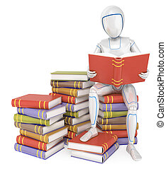 3D Humanoid robot sitting on a pile of book reading