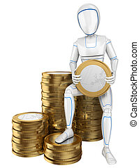 3D Humanoid robot sitting on a pile of euro coins