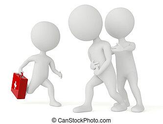 3d, humanoide, carácter, corriente, con, un, kit de primeros auxilios
