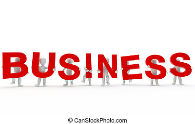 3D humans forming red business word