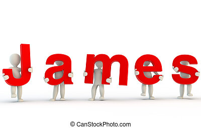 3D humans forming red James word