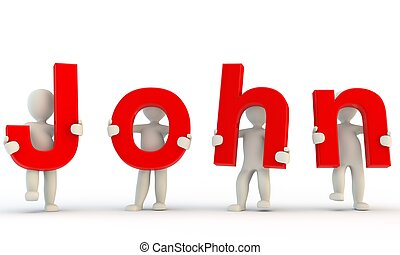 3D humans forming red John word