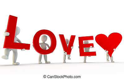 3D humans forming red Love word