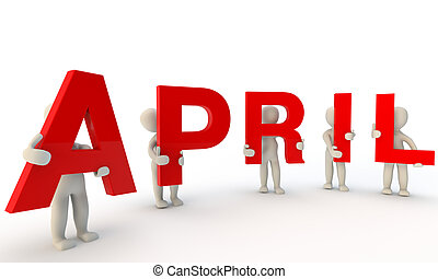 April - 3D humans forming red word April made from 3d...